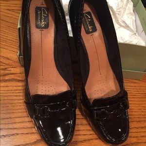 Clarks black patent heels size 12 wide